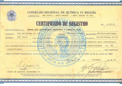 CERTIFICADO DE REGISTRO NO CRQ 4ª REGIÃO