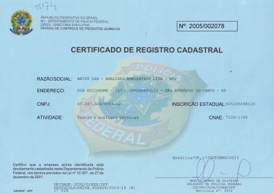 CERTIFICADO DE REGISTRO CADASTRAL PF