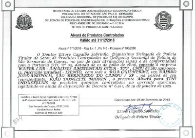 ALVARA DE PRODUTOS CONTROLADOS – DPC