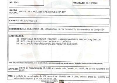 CERTIFICADO DE REGISTRO NO EXÉRCITO